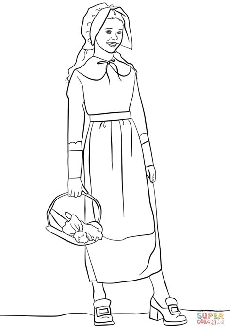 pilgrim girl coloring page free printable coloring pages