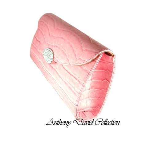 Clutch Original Swarovski pink genuine leather croc clutch purse with swarovski crystals