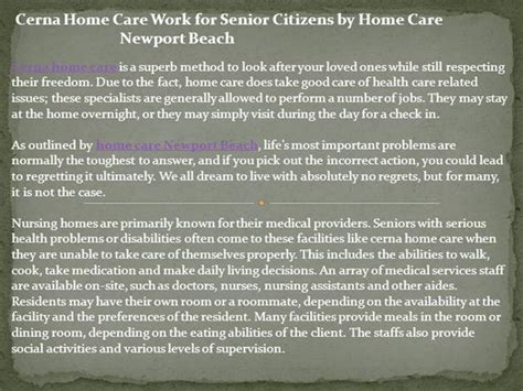 cerna home care work for senior citizens by home care