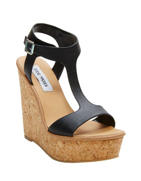 Steve Madden Wedge Sandals by Lyst Steve Madden Iluvit Wedge Sandals In Black