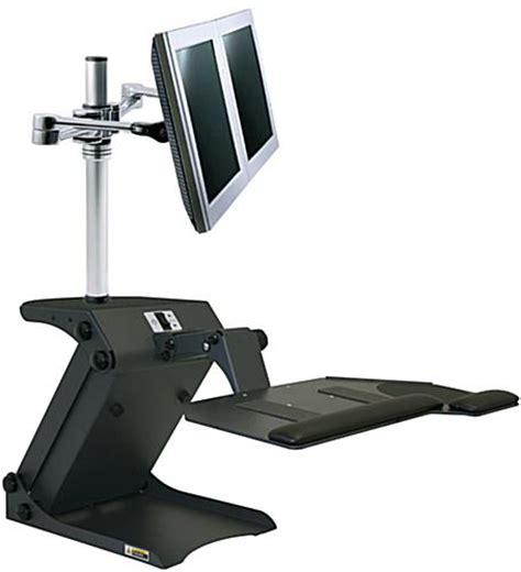 Standing Desk Monitor Height by Dual Monitor Standing Desk Electric Height Adjustment