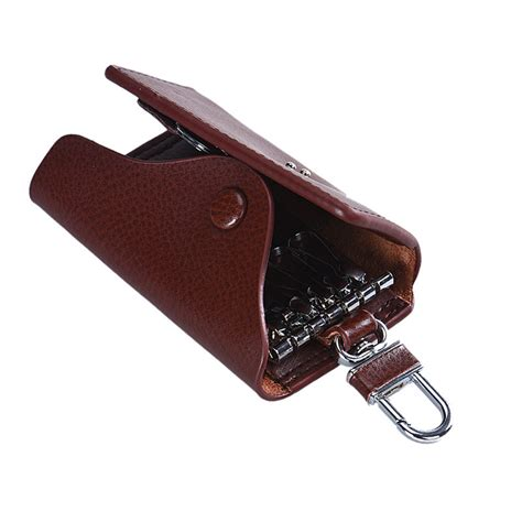 key wallet mens keychains faux leather key holder 6 key