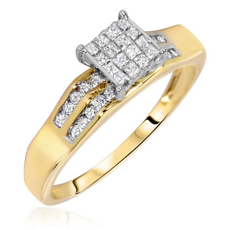1 carat trio wedding ring set 10k yellow gold my