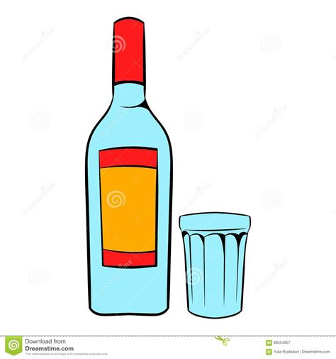 glass cartoon bottle of vodka and glass icon cartoon stock vector
