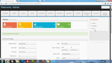 Fitness Management Software 2 generate invoice for or other classes with