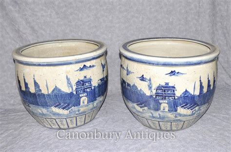 Blue And White Pottery Planters by Pair Kangxi Porcelain Blue And White Planters Pots