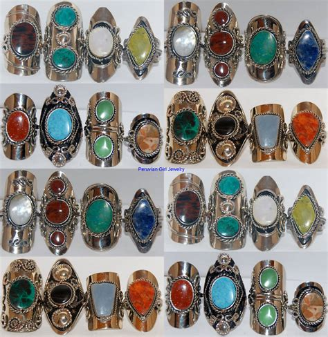 10 rings gemstone peru silver jewelry bulk lot ebay