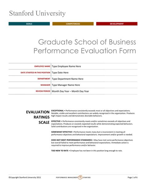Stanford Mba Application Form by Stanford Performance Evaluation Form In Word