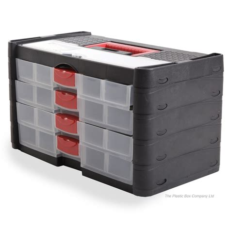 Plastic Storage Box Drawers by Large Black Tool Box With 4 Drawers Blackspur From