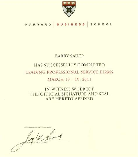 Harvard Mba Certificates by Barry Sauer Diploma And Certification Gallery