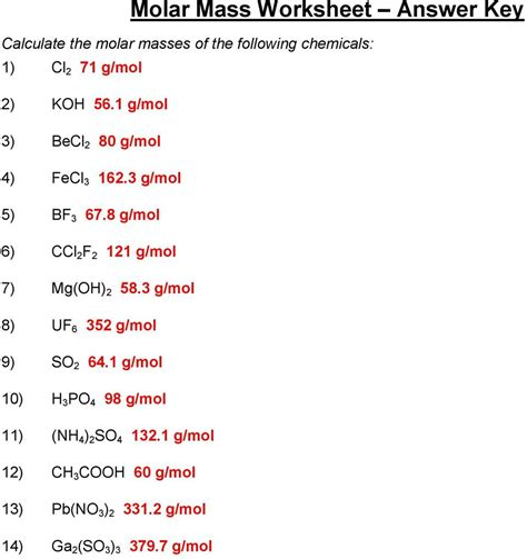 Molar Mass Worksheet Answers With Work by Molar Mass Worksheet Answer Key Pdf