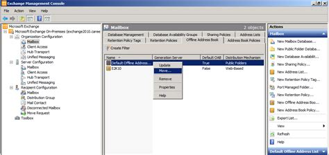 if necessary move the oab generation to another mailbox server how to move offline address book from exchange 2003 to