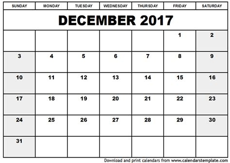 december 2017 calendar printable schedule template free