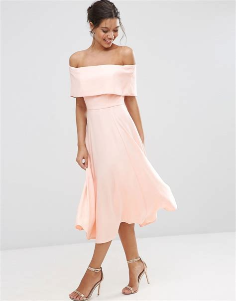 Poll The College Of Fashion For Asos Items Em Or Loathe Em by Asos Soft The Shoulder Bardot Midi Prom Dress In Pink