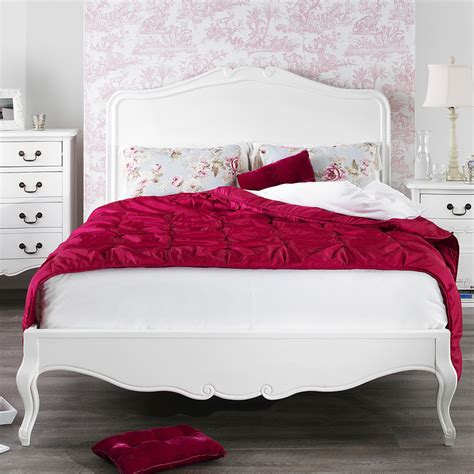 juliette shabby chic white double bed stunning wooden headboard 4ft6 bed base ebay