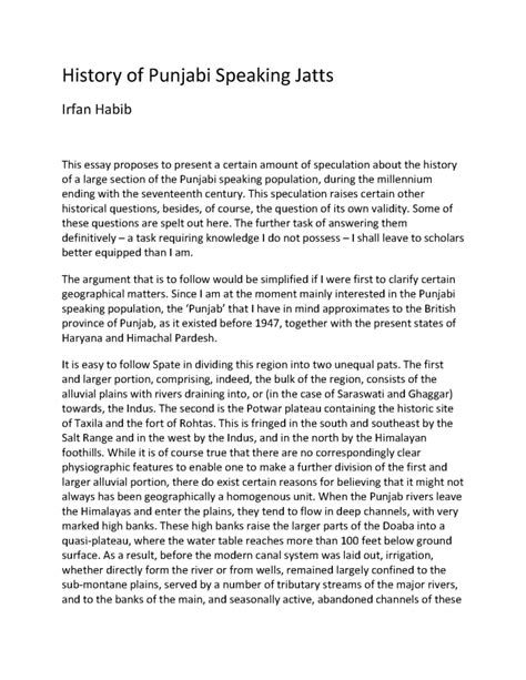 6 page research paper history of punjabi speaking jatts