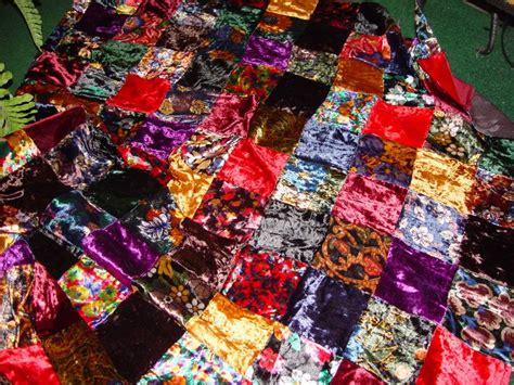 Velvet Patchwork Quilt - quilt fabric patchwork velvet squares