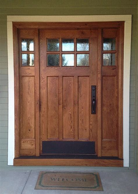This Craftsman Style Door And Sidelights Built Of Rustic Glass Entry Doors With Sidelights