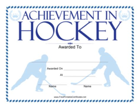 hockey certificate templates new printable certificates