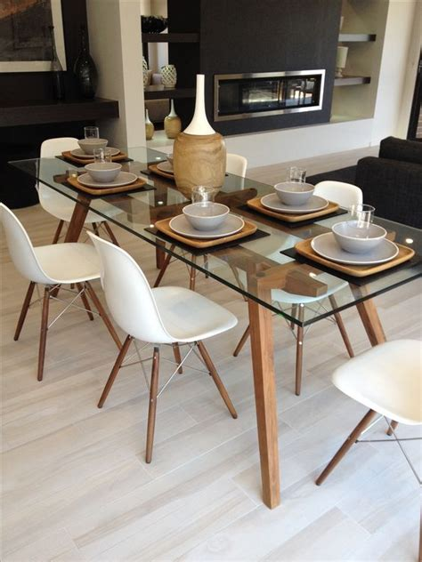 Eames Dining Table And Chairs Sticotti Glass Dining Table And Eames Dining Chairs In Walnut House Ideas