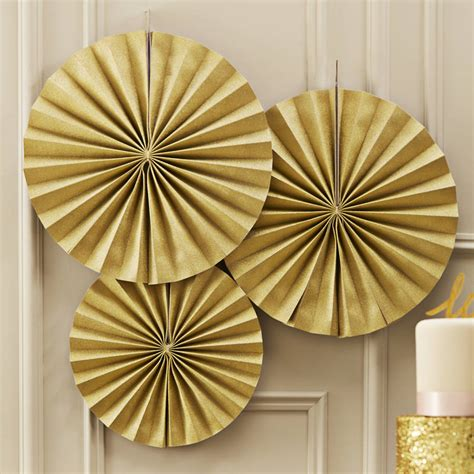 golds the fan gold sparkling circle fan decorations by