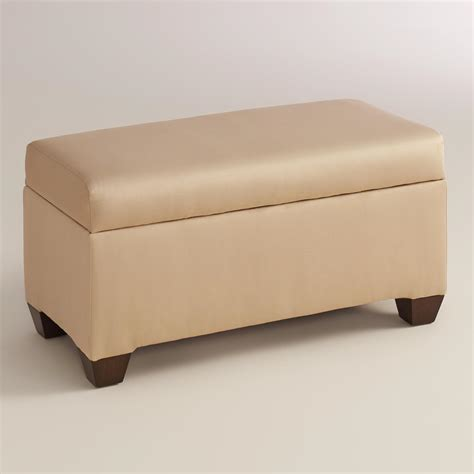 Upholstered Storage Bench Micro Suede Pembroke Upholstered Storage Bench World Market