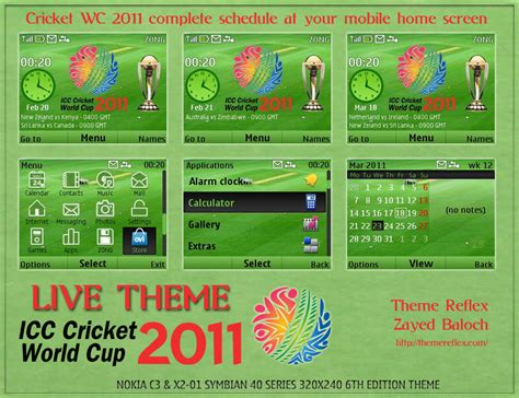 themes for huawei c3 cricket world cup 2011 live theme for nokia c3 x2 01