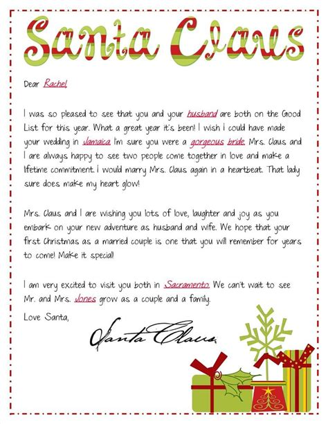 send newlyweds santa letter special