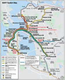 Bart Map San Francisco by San Francisco Bart System Map Railway Mapsof Net