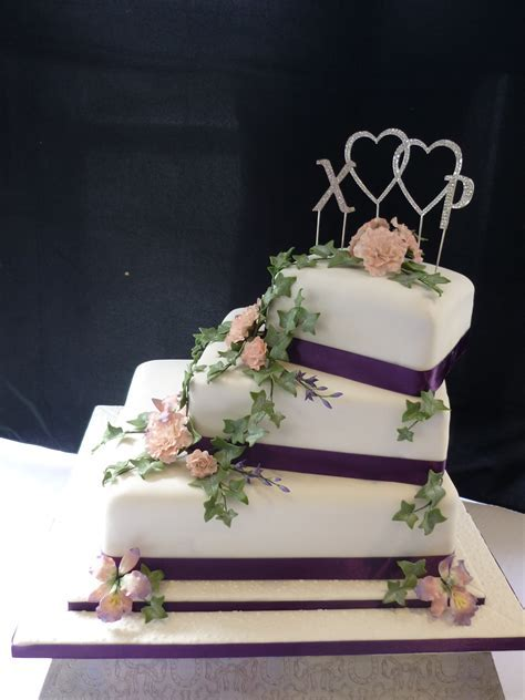 3 tier square orchid and rose wedding cake   Supercakes