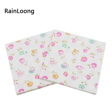 Patterned Tissue Paper Decoupage - rainloong 2 ply turquoise printed floral paper napkin