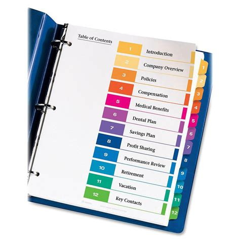 Avery Ready Index Table Of Contents Reference Dividers Ld Products Avery 25 Tab Table Of Contents Template