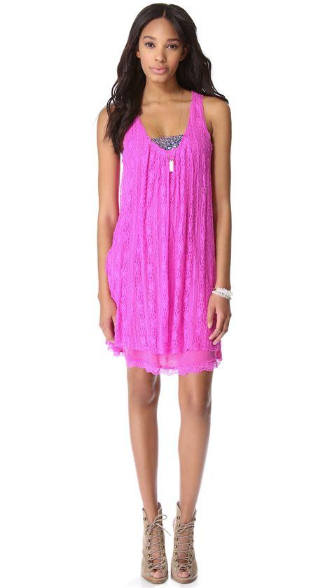 lace swing dress free people lace swing dress in pink lyst