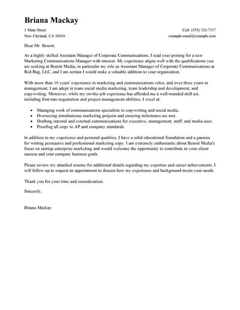 Management Letter Template by Leading Professional Assistant Manager Cover Letter