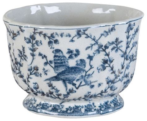 blue and white planters blue and white pot with bird design traditional indoor pots and planters by shan hill design