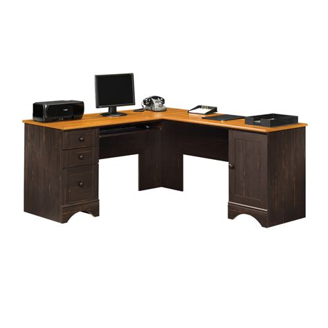 shop sauder harbor view antiqued paint l shaped desk at