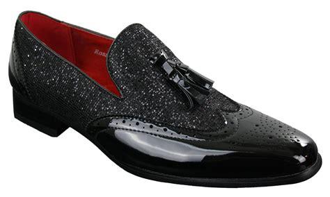 mens smart shiny tassle shoes silver black slip