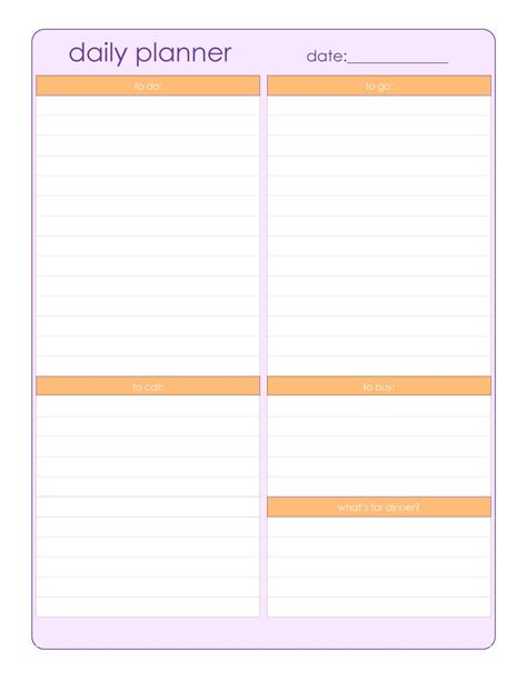 daily planner page template 40 printable daily planner templates free template lab