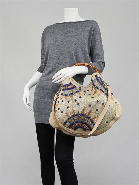 Gucci Peggy Large Top Handle Bag by Gucci Beige Raffia Flowers Peggy Bamboo Top Handle Hobo