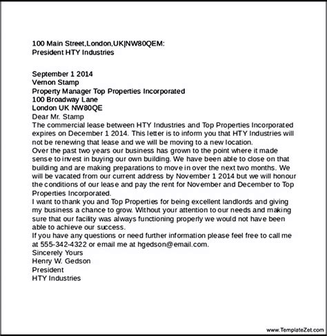 Sle Letter Termination Of Commercial Lease Commercial Lease Termination Letter Templatezet