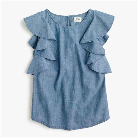 Top Ruffle ruffle top in chambray blouses j crew