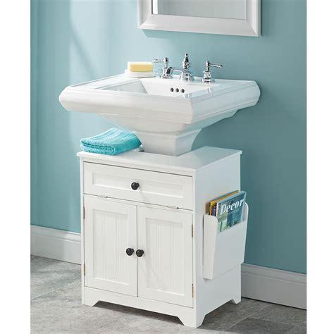 pedestal sink cabinet the pedestal sink storage cabinet hammacher schlemmer