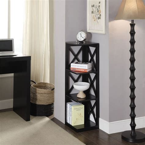 3 Shelf Corner Bookcase 3 Shelf Corner Bookcase In Black 203070bl