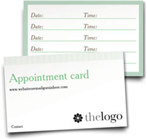 next appointment cards templates free business services inc products appointment cards