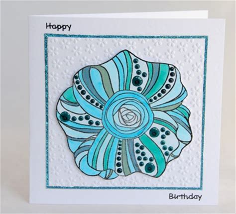 Funky Handmade Cards - a handmade colourful floral birthday card handmade by helen