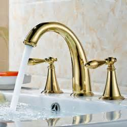 gold bathroom sink faucets suex ti pvd gold widespread bathroom sink faucet