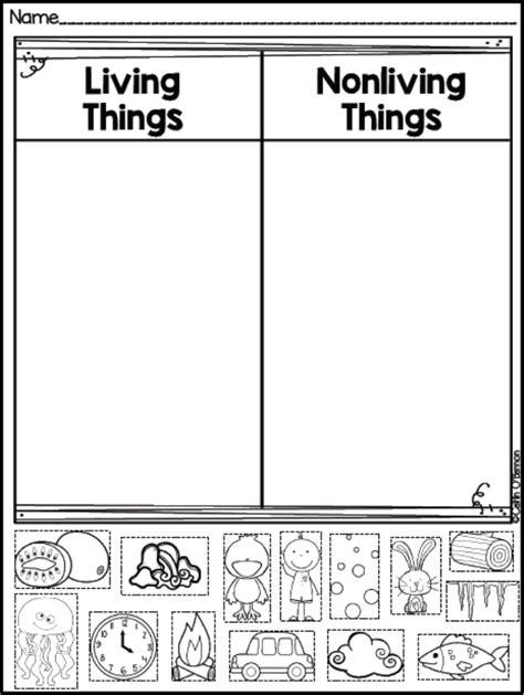 printable worksheets for kindergarten science freebie living and non living things sort teaching