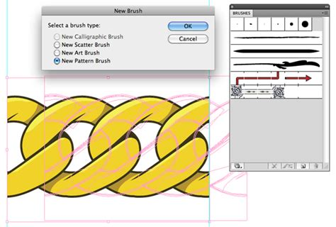 step pattern of brush step create a gold chain pattern brush with illustrator