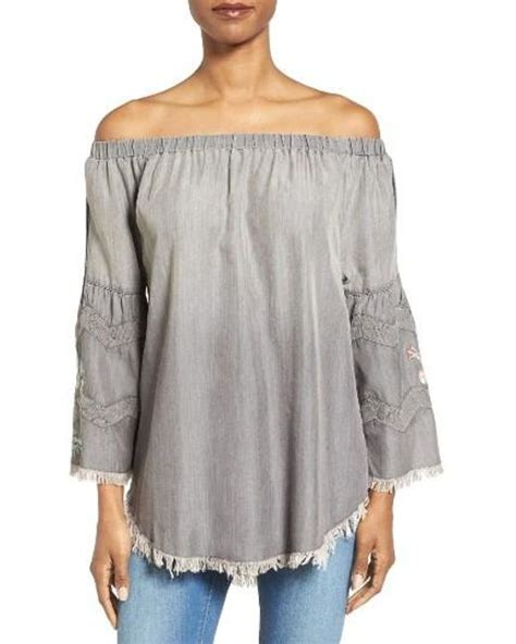 Billy Top Grey billy t the shoulder denim top in gray lyst