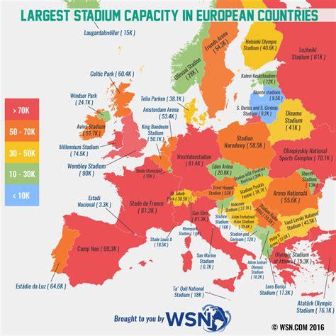 largest stadium capacity  european countries vivid maps